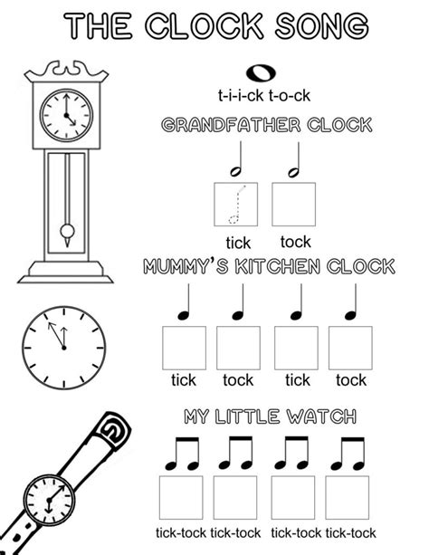 song free the clock song an easy way to learn musical note values
