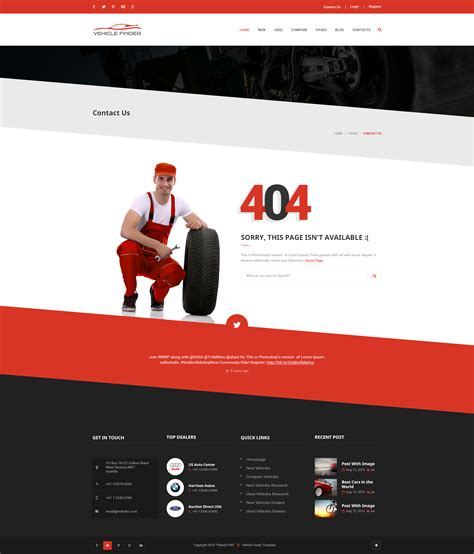 Drupal 404 Template by Vehicle Finder And Booking Psd Template By Limradesigns