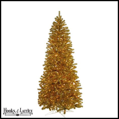 7 5 ft gold tinsel pre lit artificial christmas tree w