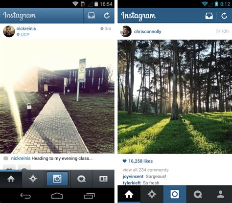 layout en instagram instagram for android gets a gorgeous flat redesign