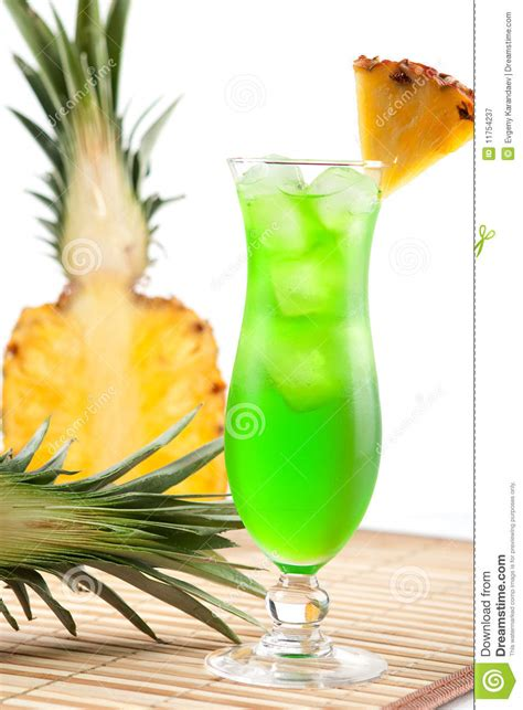 green cocktail green cocktail with pineapple royalty free stock photo