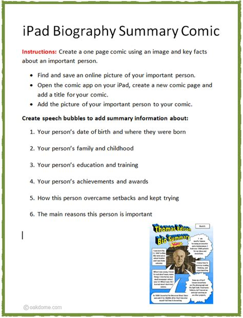 lesson plan for biography writing ipad biography summary comic lesson plan k 5 computer lab