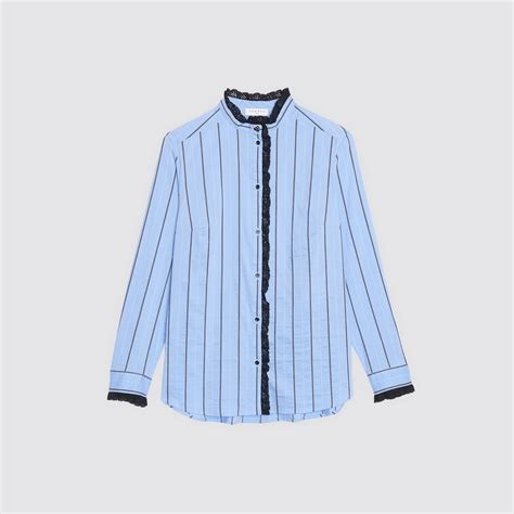 striped shirt with lace trim c11474h tops shirts