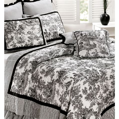 Toile De Jouy Cotton Quilt Bedding