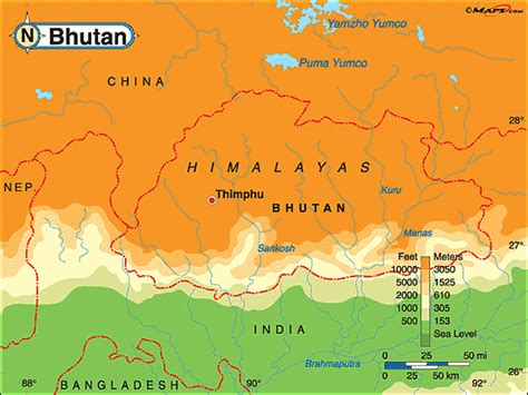Bhutan Physiographic Map | Www.123paintcolor.download