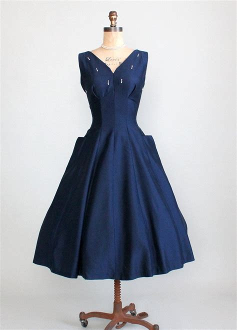 1950 s vintage cocktail dresses vintage 1950s navy fit and flare cocktail dress raleigh