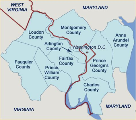 washington dc map surrounding states map of the counties surrounding fairfax county