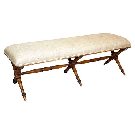 bamboo bench seat bamboo bench with burlap seat at 1stdibs