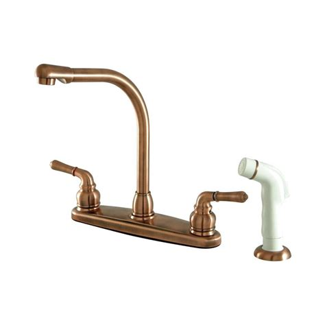 Copper Faucets Kitchen Shop Elements Of Design Magellan Antique Copper 2 Handle High Arc Kitchen Faucet At Lowes