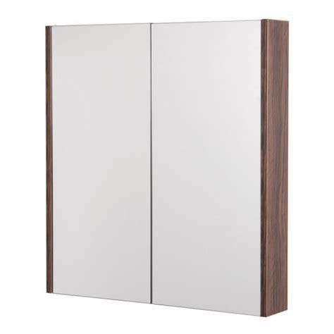 Aspen 2 Door Walnut Mirror Cabinet 650 H 600 W 100 P Walnut Mirror Bathroom Cabinet