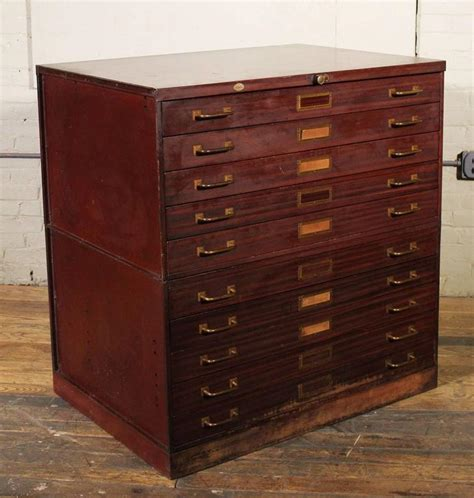 vintage art metal flat file storage cabinet with brass