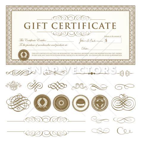 vector gift certificate template set snap vectors