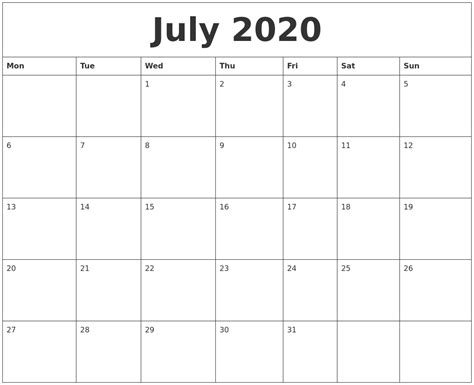 july  blank monthly calendar template