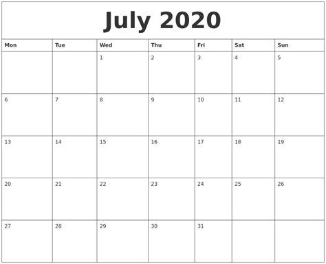 july  create calendar