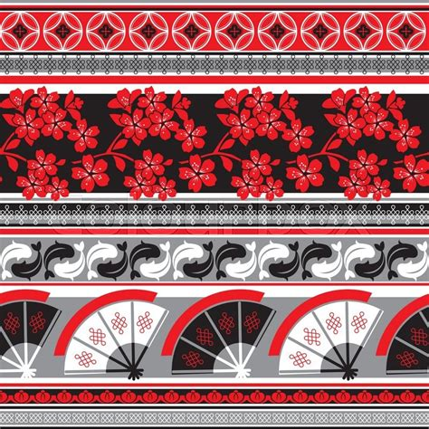 japanese ornament vector seamless pattern with japanese ornament stock