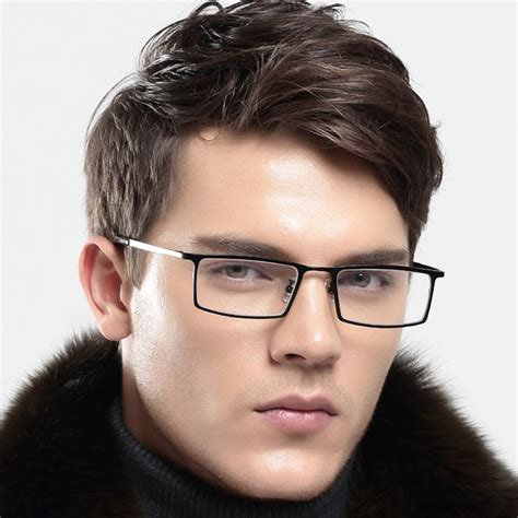 mens titanium rectangular eyeglasses frames