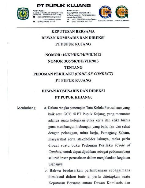 Pupuk Kujang Npk 30 6 8 Lung pt pupuk kujang cikek code of conduct pedoman perilaku