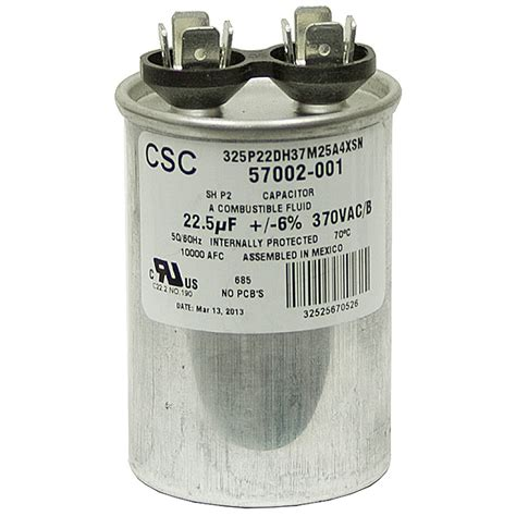 general electric capacitor 5 mfd 370 volt 22 5 mfd 370 vac run capacitor csc 325p22dh37m25a4xsn motor run capacitors capacitors