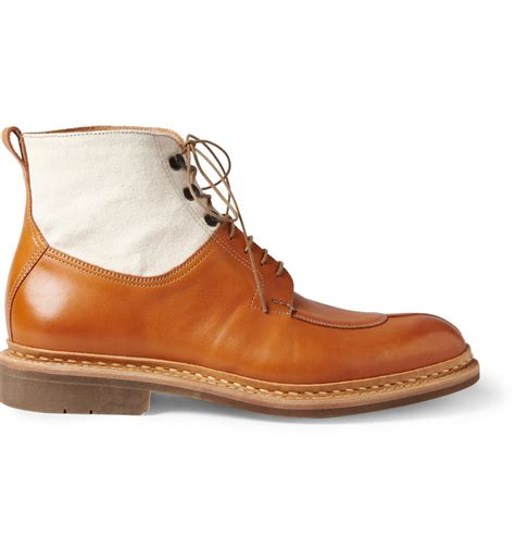 canvas boots lyst heschung ginko leather and canvas laceup boots in