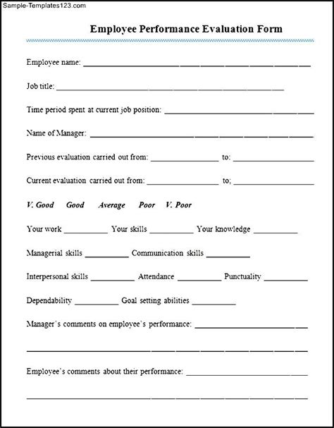 Appraisal Letter For Employee Sle Employee Performance Appraisal Form Sle Templates