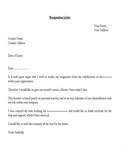 Resignation Letter Sle For Hr 27 Resignation Letter Format Free Premium Templates