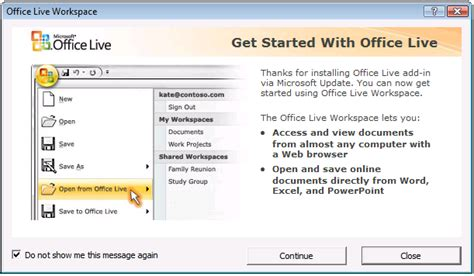 quot get started with office live quot add in window keeps