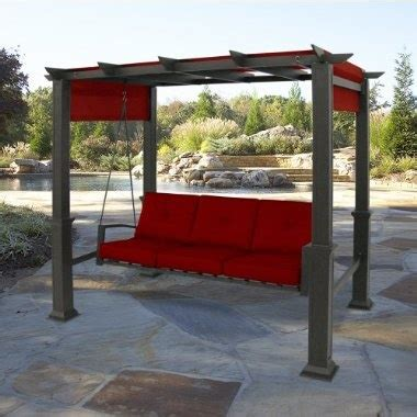 Outdoor Patio Pergola Swing by Outdoor Patio Pergola 3 Person Swing Red Outdoors