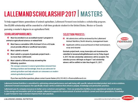 Scholarship Position Newsletter lallemand announces continuation of scholarship program