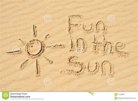 Fan Sanden in the sun written in the sand royalty free stock