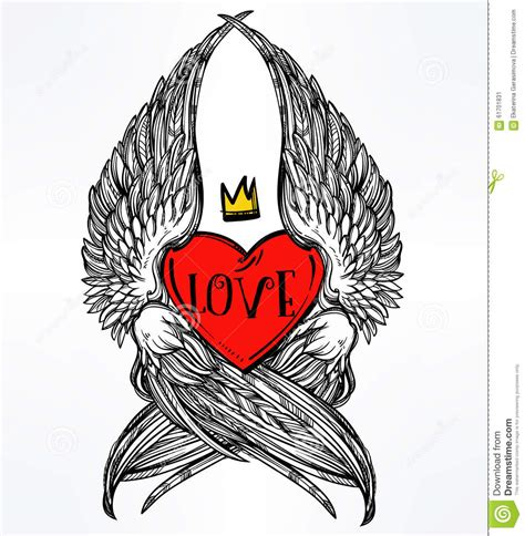 heart with angel wings and crown stock vector image