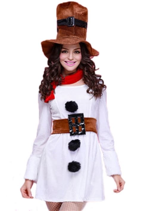 white womens sleeve dress snowman