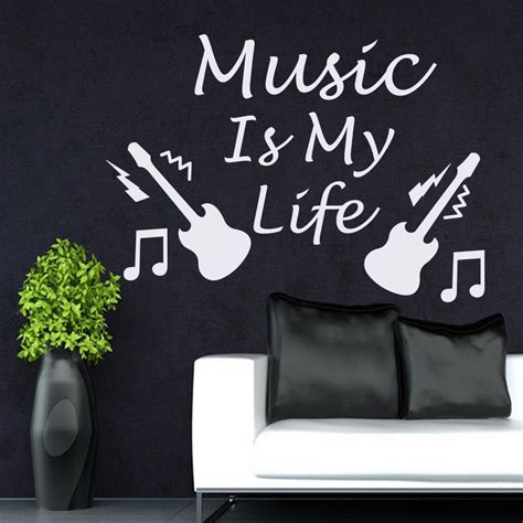 wall decal quotes for living room aliexpress com buy wall decals quotes music is my life