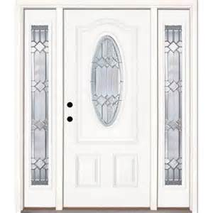Front Door With Sidelites Feather River Doors 63 5 In X 81 625 In Mission Pointe Zinc 3 4 Oval Lite Unfinished Smooth