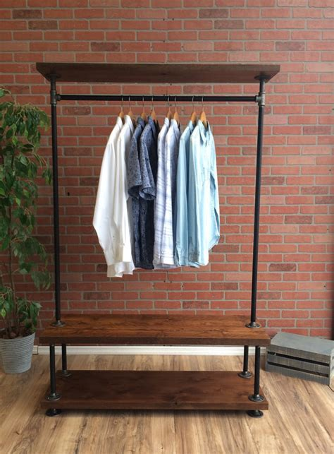 Industrial Pipe Clothing Rack by Industrial Pipe Clothing Rack With Wood Shelf 48 Wide