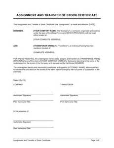 Stock Transfer Letter Format Assignment And Transfer Of Stock Certificate Template Sle Form Biztree