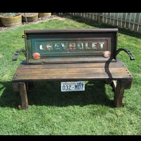 old truck tailgate bench just a car guy old chevy truck car parts bench cool