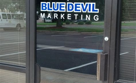 two layer vinyl door logo blue marketing signergy