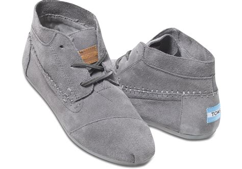 womans grey boots toms grey suede s tribal boots in gray grey lyst