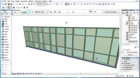 frame and curtain wall overriding surface settings of archicad curtain wall