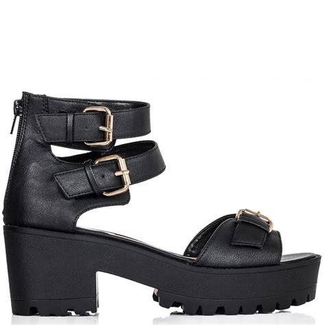 black leather platform sandals buy hippy block heel platform sandal shoes black leather