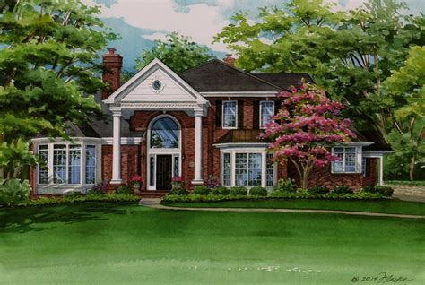 house portraits watercolor home portrait of lovely brick residence