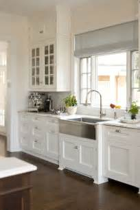 White Shaker Cabinets Kitchen Glass Front Cabinets And Farmhouse Sink For The Home