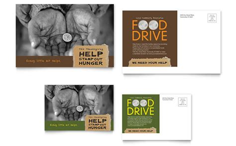 sle postcard template food drive fundraiser postcard template design