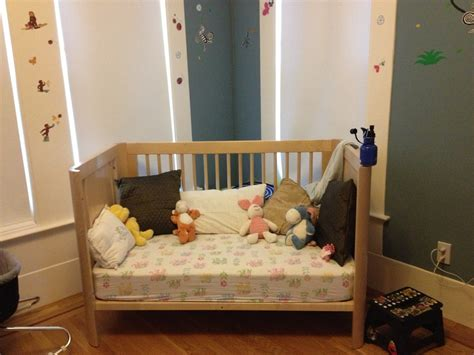 How To Convert A Crib To A Toddler Bed Brilliant Design For Diy Baby Crib With Wood Material And Fluffy Mattress Near Small Dolls And