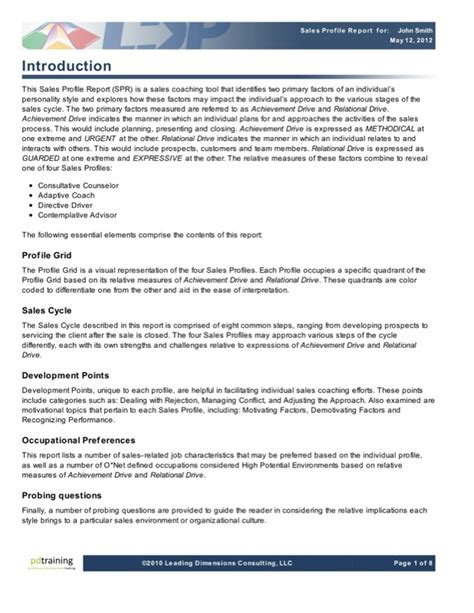 sle of report introduction sales coaching psychometric tools pd