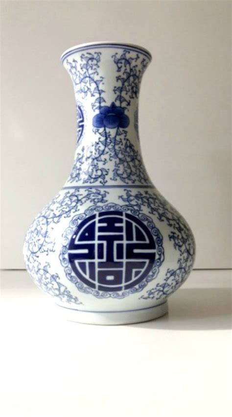 Vase Symbols by Blue And White Vase With Large Symbol And Detailed Scroll