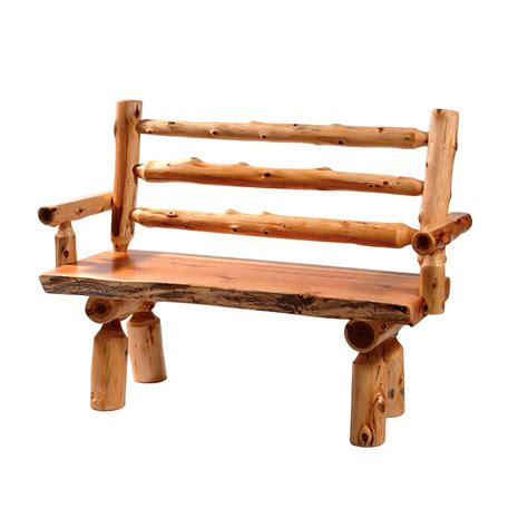 cedar log benches benches chairs handcrafted log deluxe cedar log bench with back cabin place