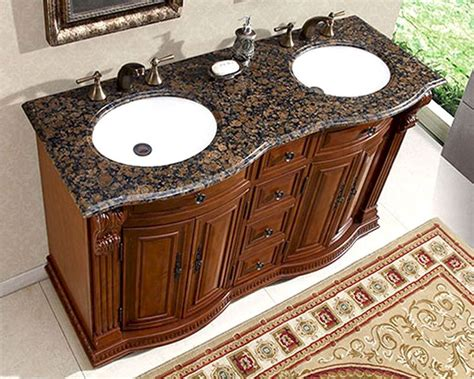 Bathroom Vanity Granite Top Silkroad 55 Quot Bathroom Vanity Brown Granite Top White Sinks