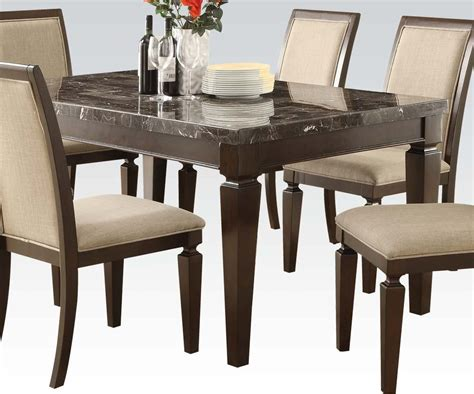 black marble dining room table acme agatha black marble top rectangular dining table in
