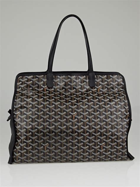 Hardy Bag 2 Boston Handbag by Goyard Black Chevron Print Coated Canvas Hardy Pm Tote Bag